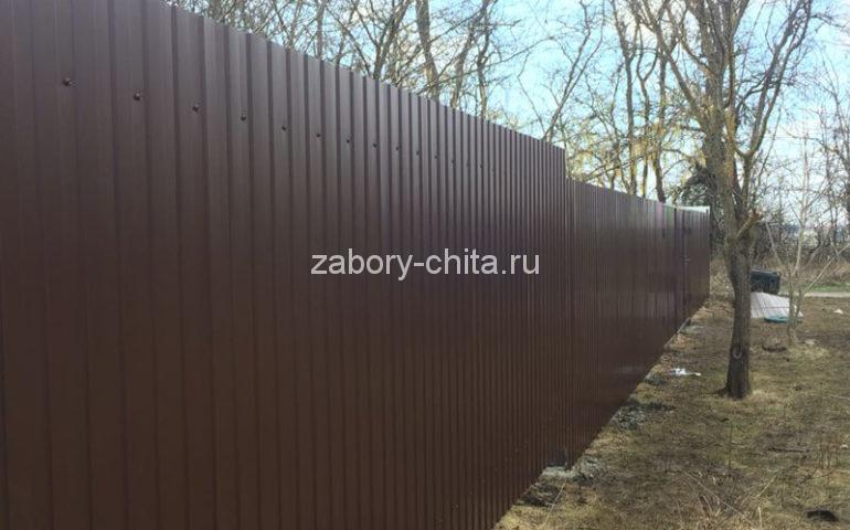 забор из профлиста в Чите